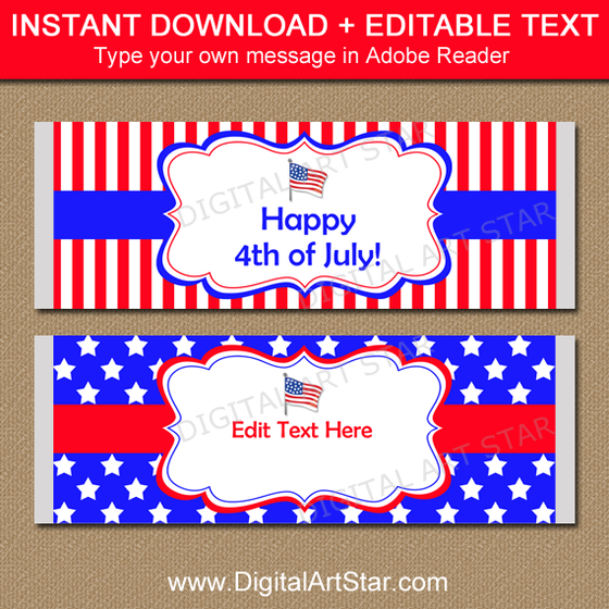 Patriotic Candy Bar Wrappers with Stars and Stripes