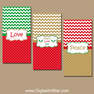 Peace Love Joy Holiday Party Favors