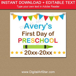 Personalized First Day of Preschool Sign Editable Template