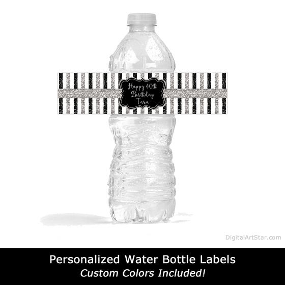 Personalized Black and Silver Glitter Water Bottle Labels Printable