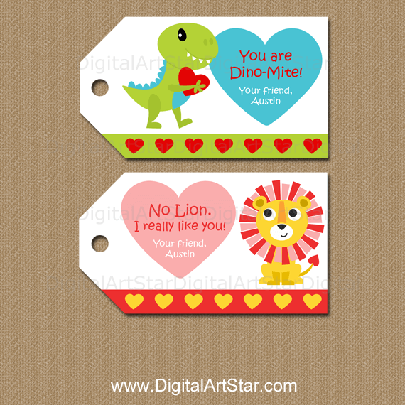 Personalized Dino Valentine Tags and Lion Valentine Tags