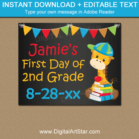 Personalized First Day of School Chalkboard Sign for Any Grade