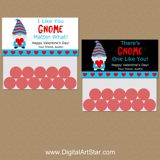 Personalized Gnome Valentine Candy Bag Toppers Printable