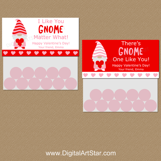 Personalized Gnome Valentines Day Treat Bag Toppers