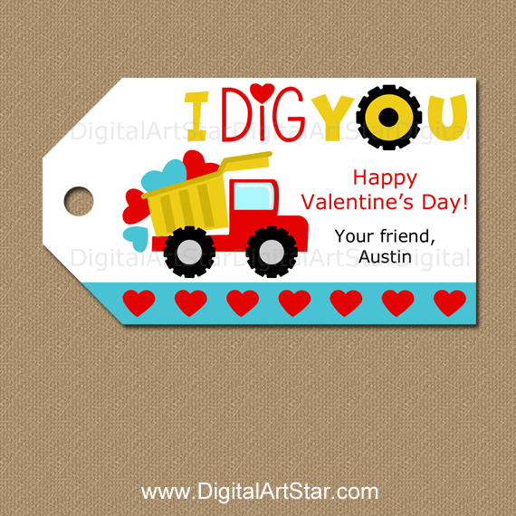 Personalized I Dig You Valentine Dump Truck Tags