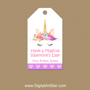 Personalized Unicorn Valentine's Day Tags