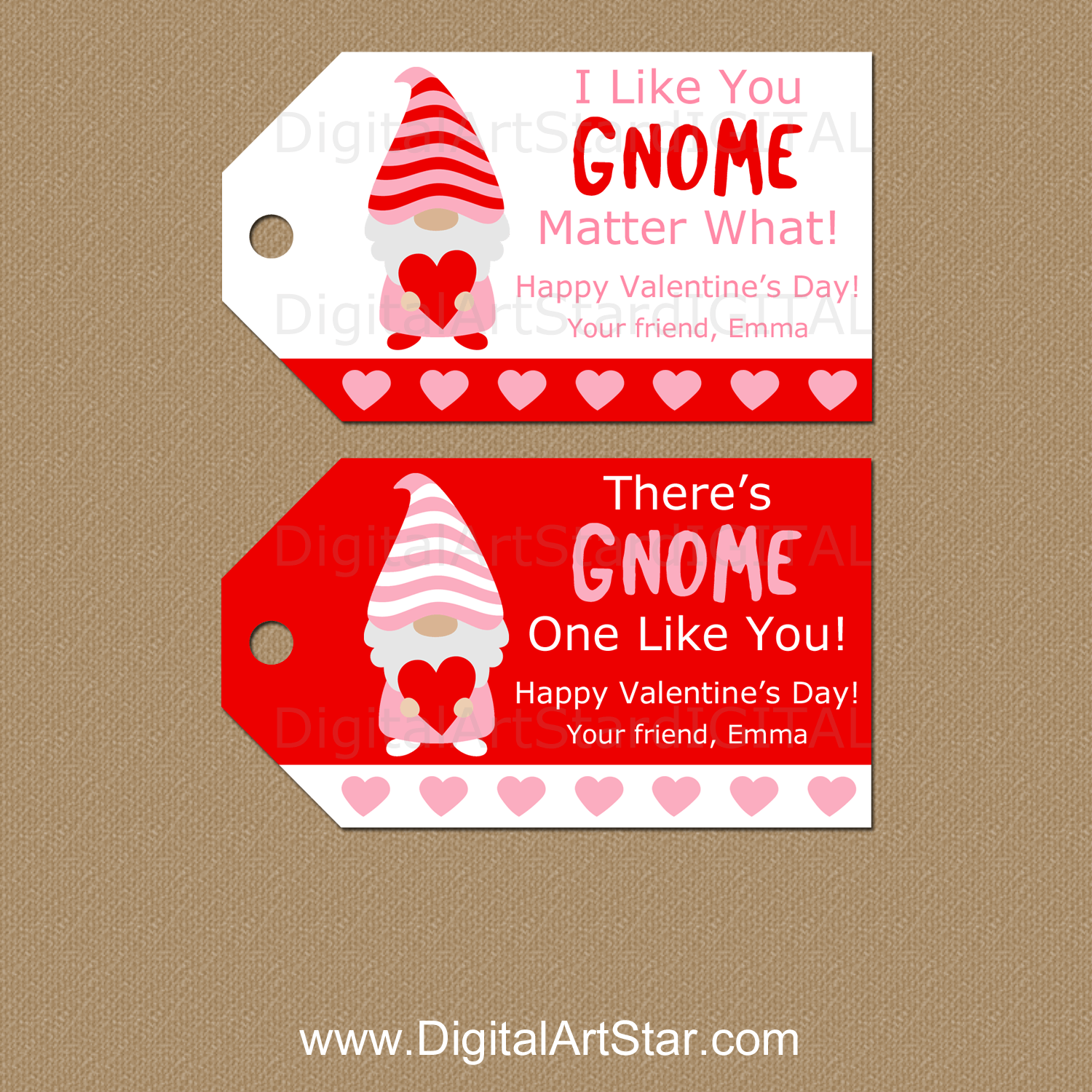 Personalized Valentine Gift Tags Gnome