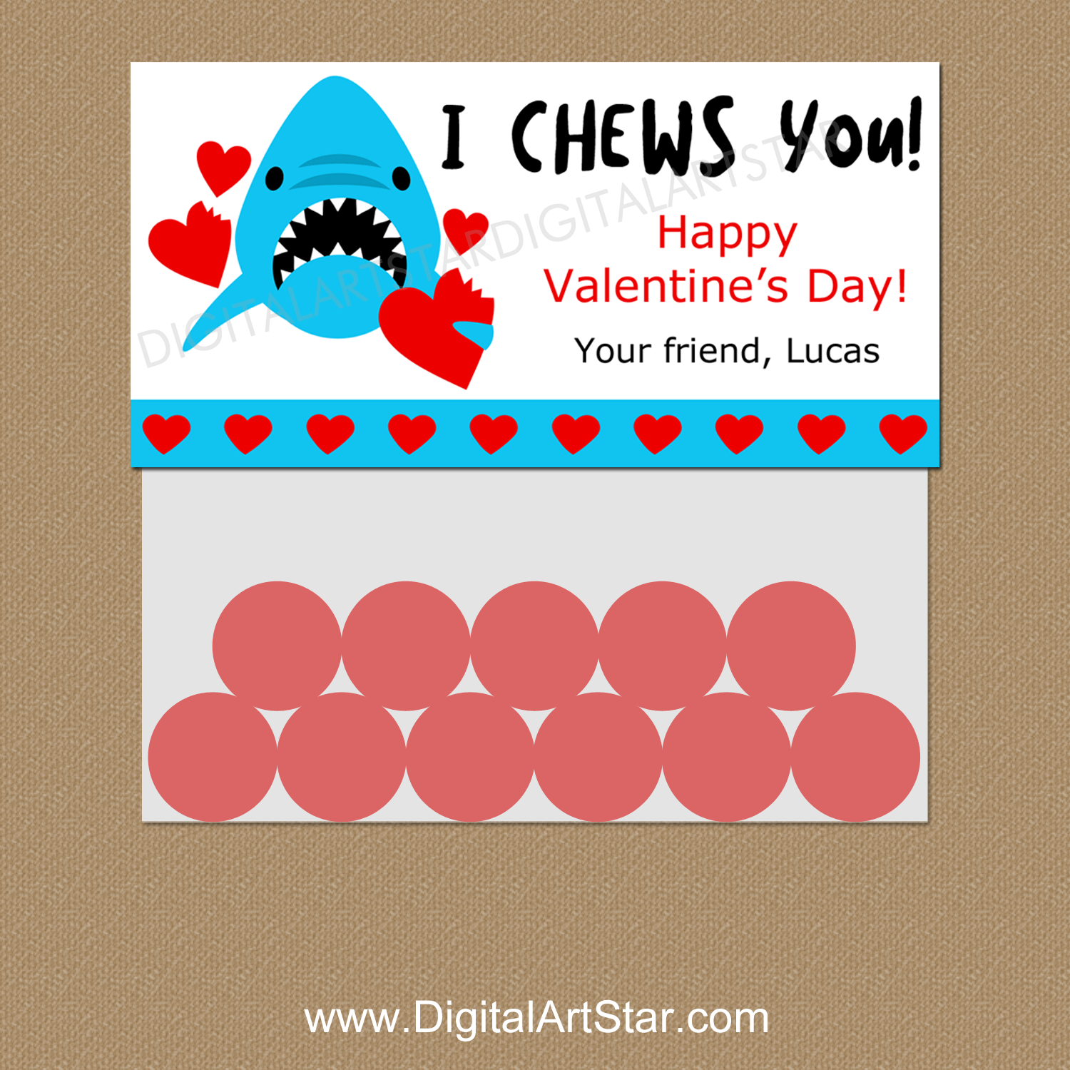 Personalized Valentine Shark Favor Bag Toppers