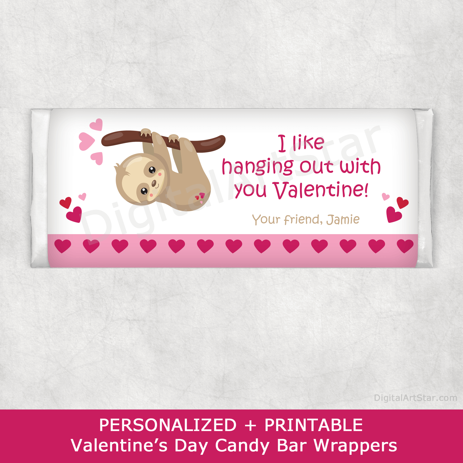 Personalized Valentine Sloth Candy Bar Wrappers to Print