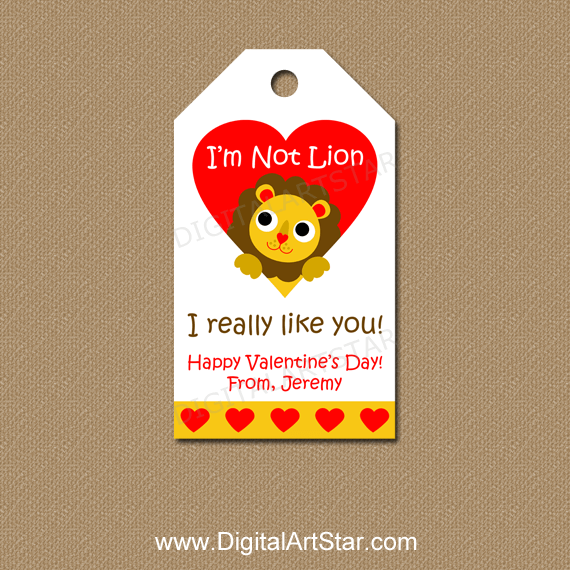 Personalized Valentine's Day Tags with Lion in Red Heart