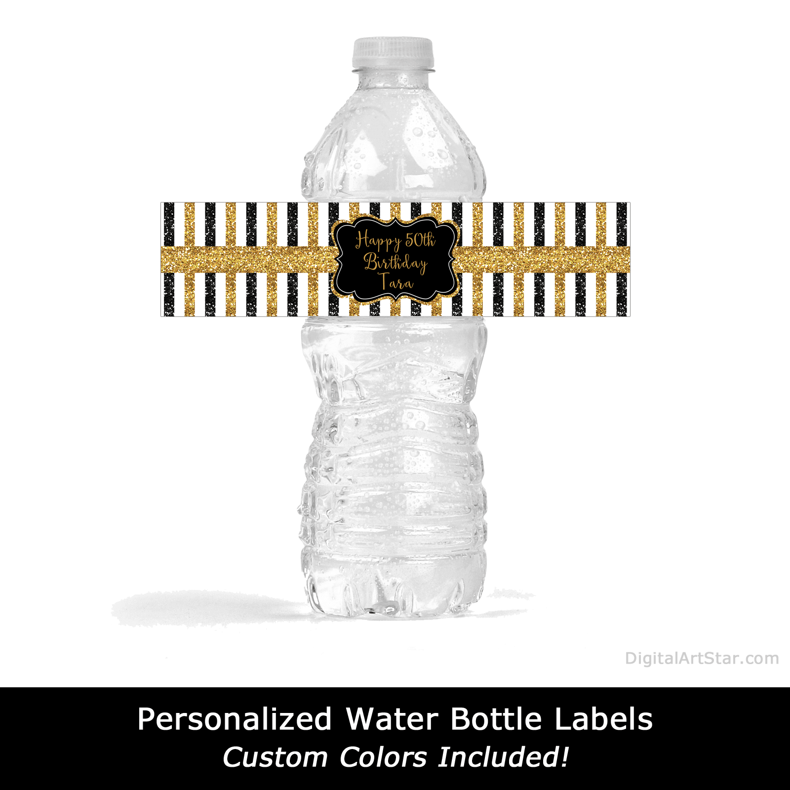 Personalized Water Bottle Labels Black and Gold