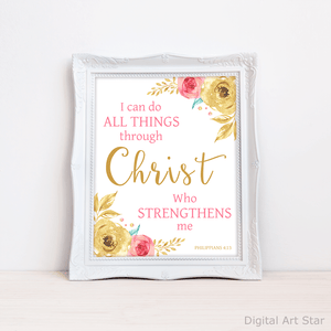 Philippians 4 13 Wall Art - Pink and Gold Floral Art Print