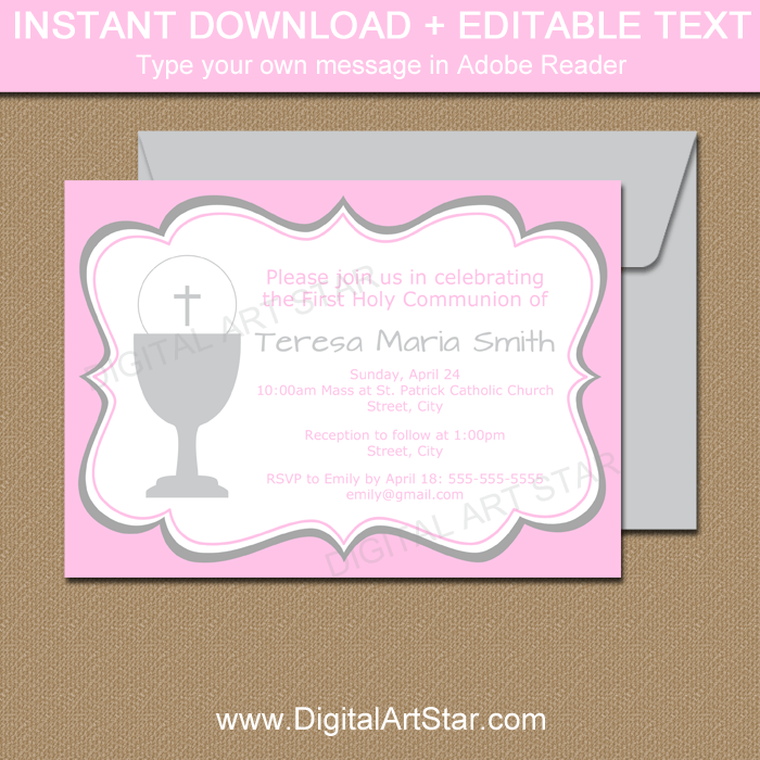 Pink First Communion Invitations for Girl