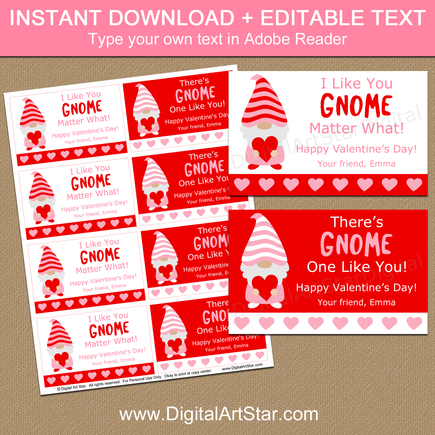 Instant Download Gnome Valentines for Classmates