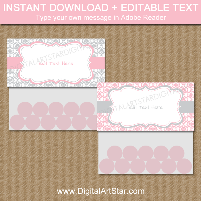 Pink and Gray Damask Bag Toppers Printable