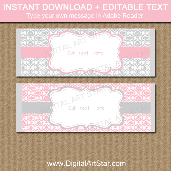 Pink And Gray Damask Candy Bar Wrapper Template Digital Art Star