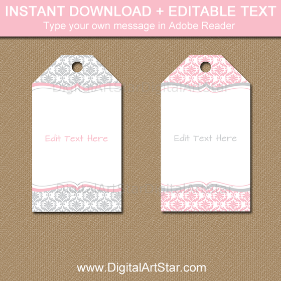 Instant Download Pink and Gray Tags