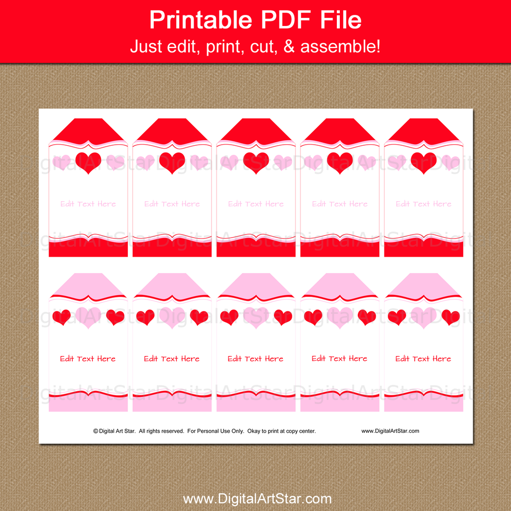 Printable Heart Tags for Valentine Party