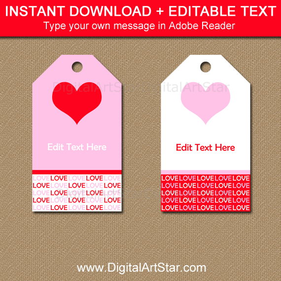 Instant Download Valentines Day Tags