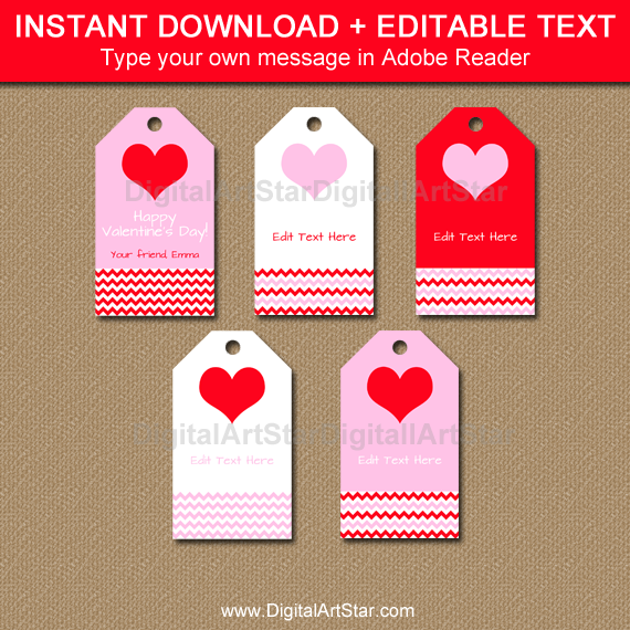 Pink and Red Valentine Hang Tags