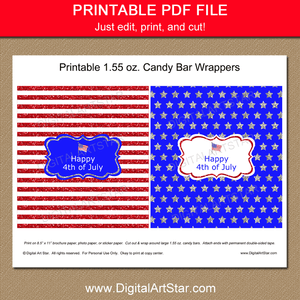 Printable Happy 4th of July Candy Bar Wrappers