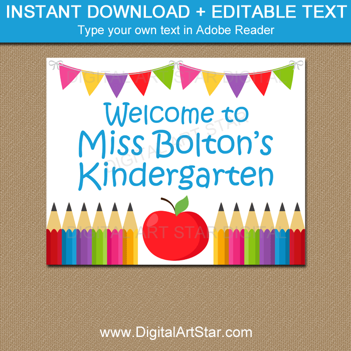 Printable Welcome to Kindergarten Sign Personalized
