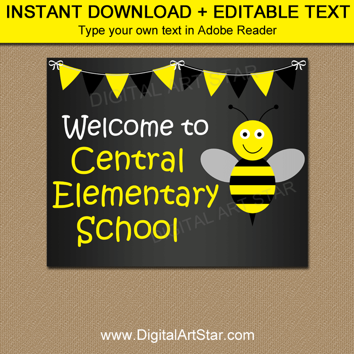 Bumble Bee First Day of School Sign Template