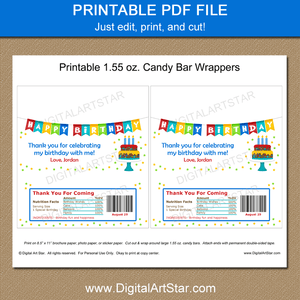 Printable Happy Birthday Chocolate Bar Wrappers