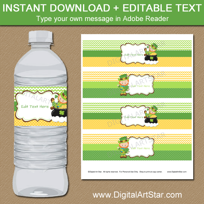 Editable Leprechaun Water Bottle Labels Template