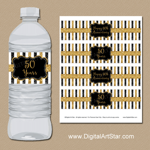 Printable 50th Wedding Anniversary Water Bottle Labels