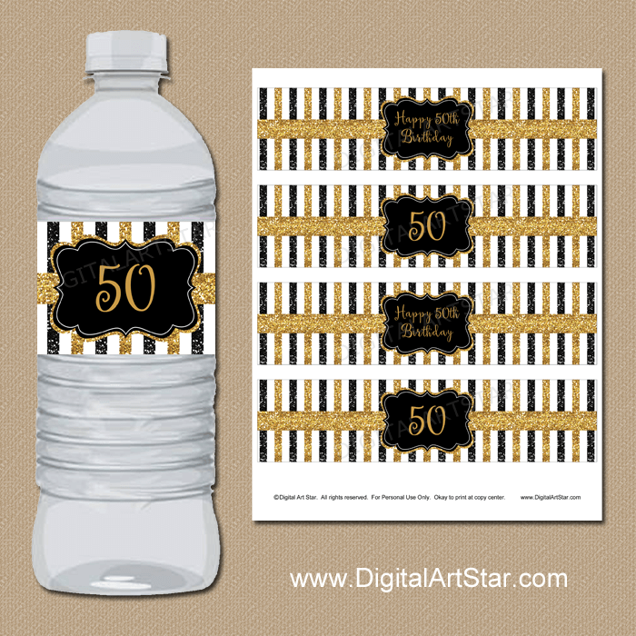 Printable Black and Gold 50th Birthday Water Bottle Labels