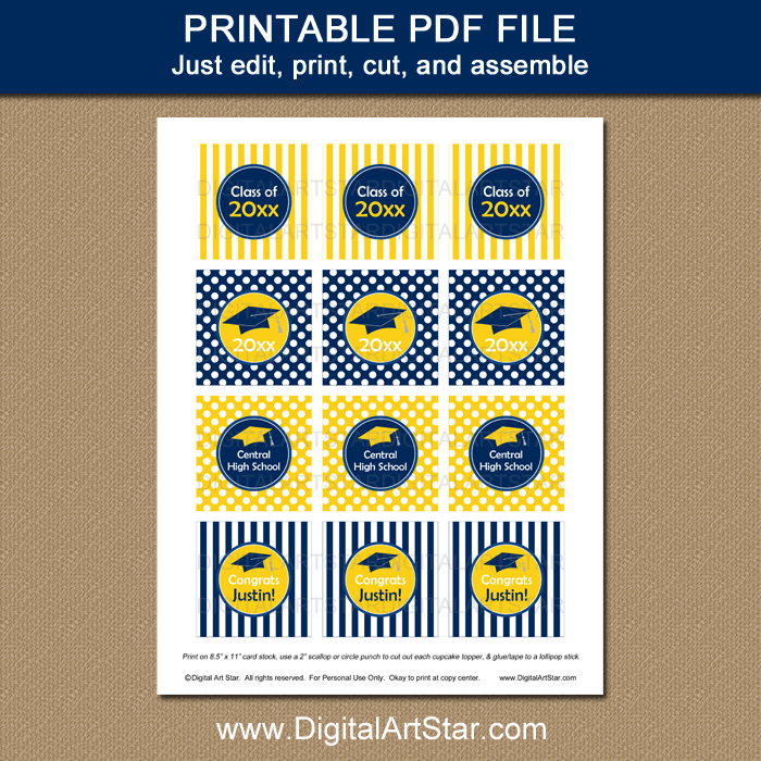 Printable Blue and Yellow Graduation Cupcake Toppers