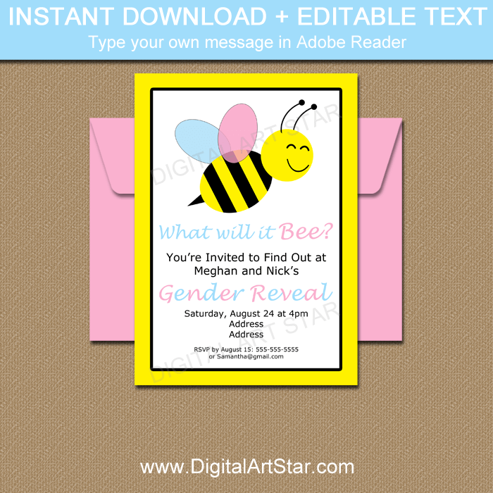Printable Bumble Bee Gender Reveal Invitation Template