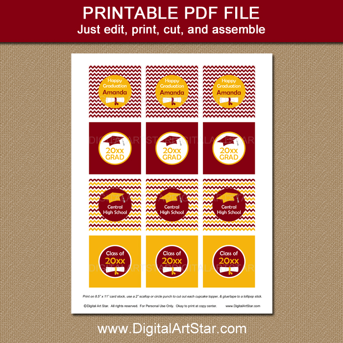 Printable Burgundy and Gold Graduation Cupcake Picks Toppers