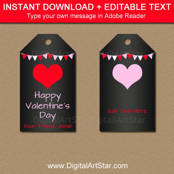 Printable Chalkboard Valentine Tags for Classroom Party