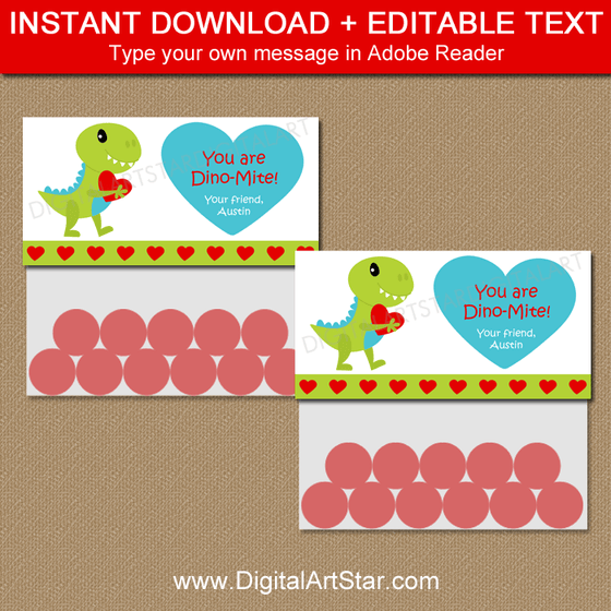 Editable Valentine Bag Toppers Dinosaur