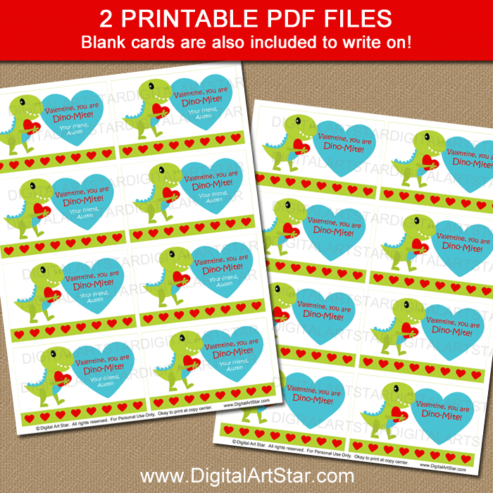 Printable Dinosaur Valentines Day Cards for School