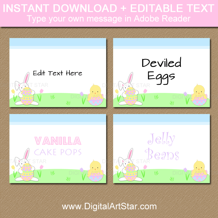Instant Download Easter Place Cards