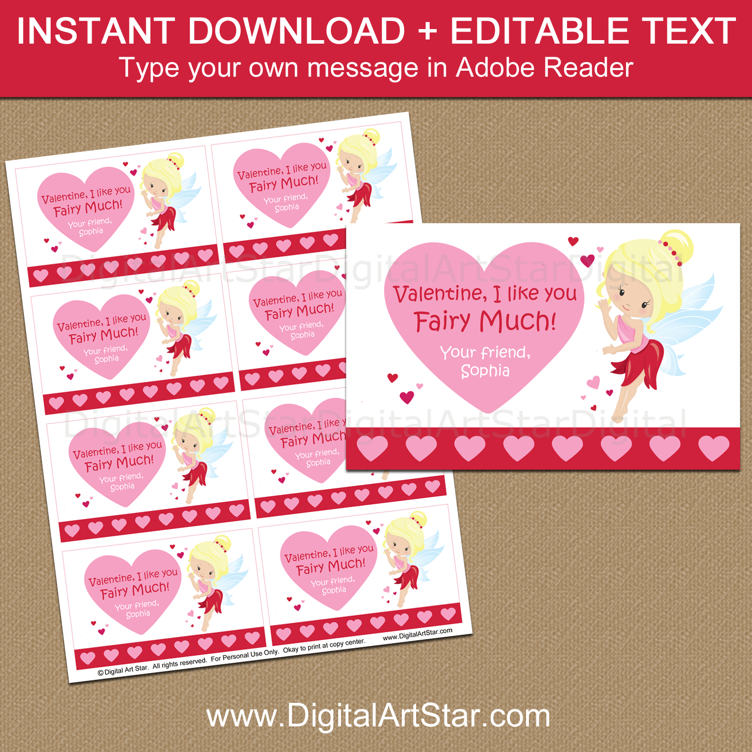 Printable Fairy Valentines Day Template