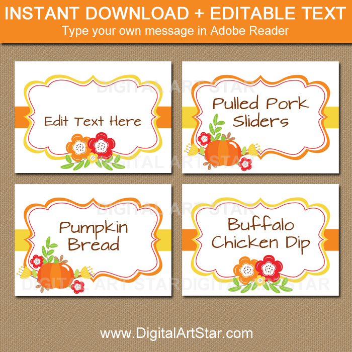 Printable Floral Place Cards for Thanksgiving, Fall Wedding
