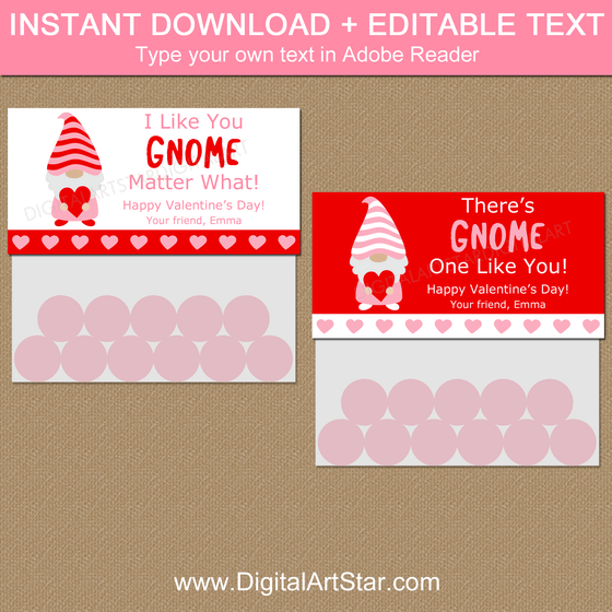 Instant Download Gnome Valentine Bag Toppers Editable Template