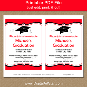 Printable Graduation Party Invitations in Red and White with Black Accents