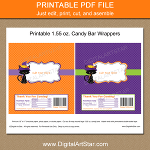 Printable Kids Halloween Party Favors Candy Wrappers