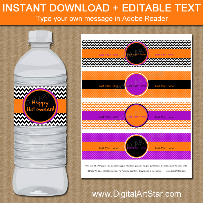 Printable Halloween Water Bottle Labels Orange Purple Black