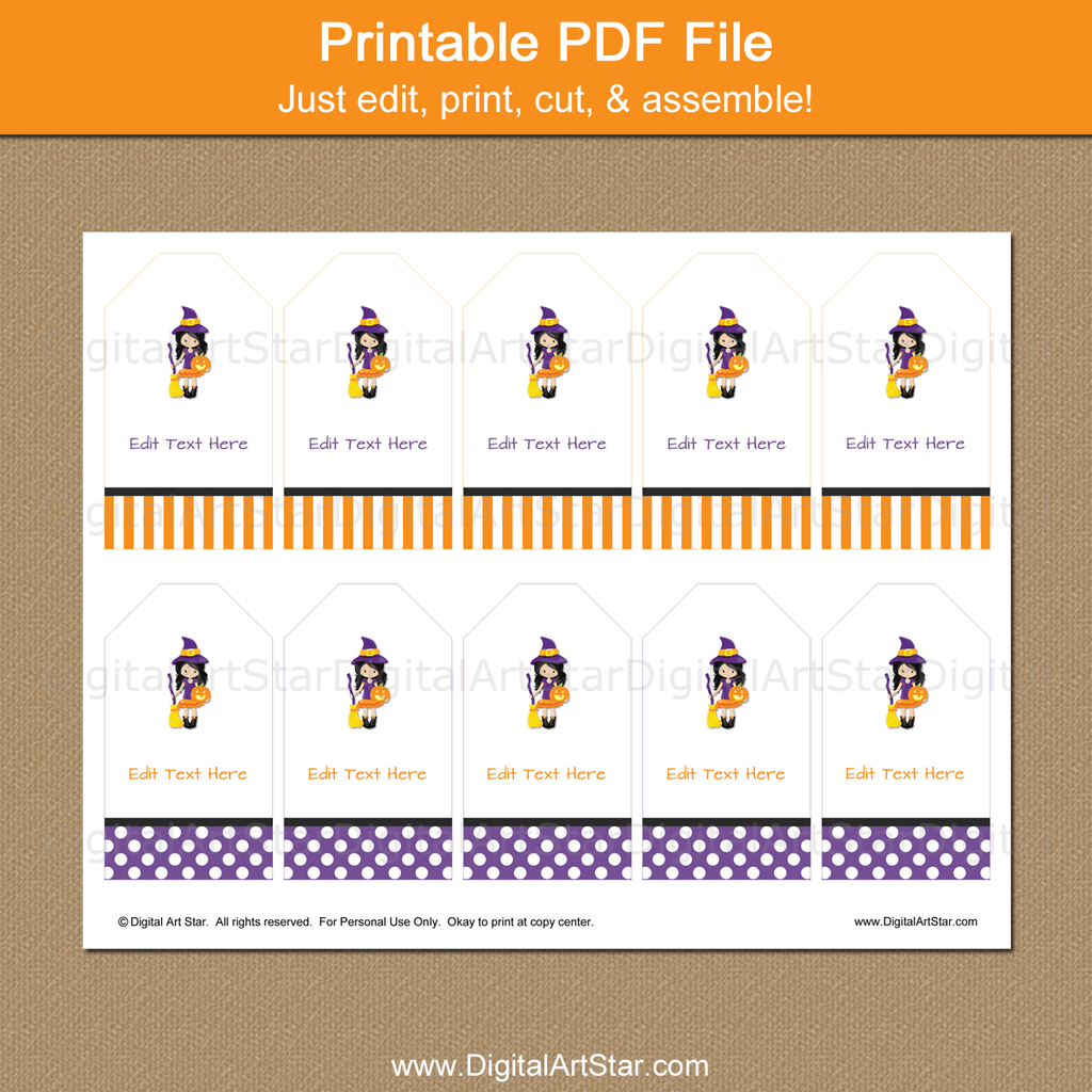Printable Halloween Witch Party Favor Tags Template