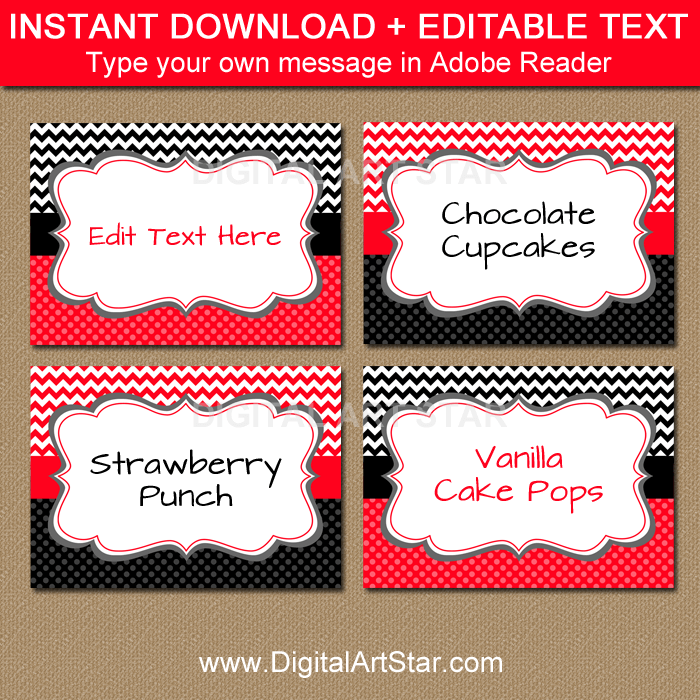 Editable Labels for Birthday or Baby Shower