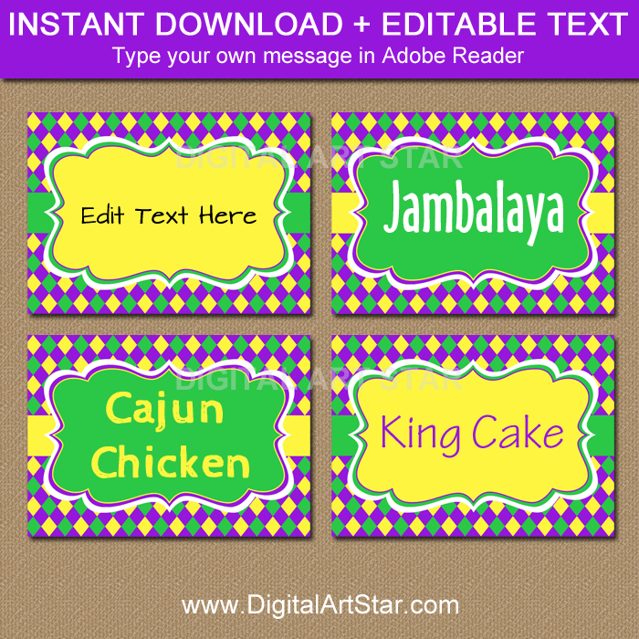 Printable Mardi Gras Labels with Editable Text