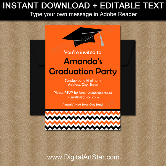 Editable Graduation Invitations in Orange, Black, White