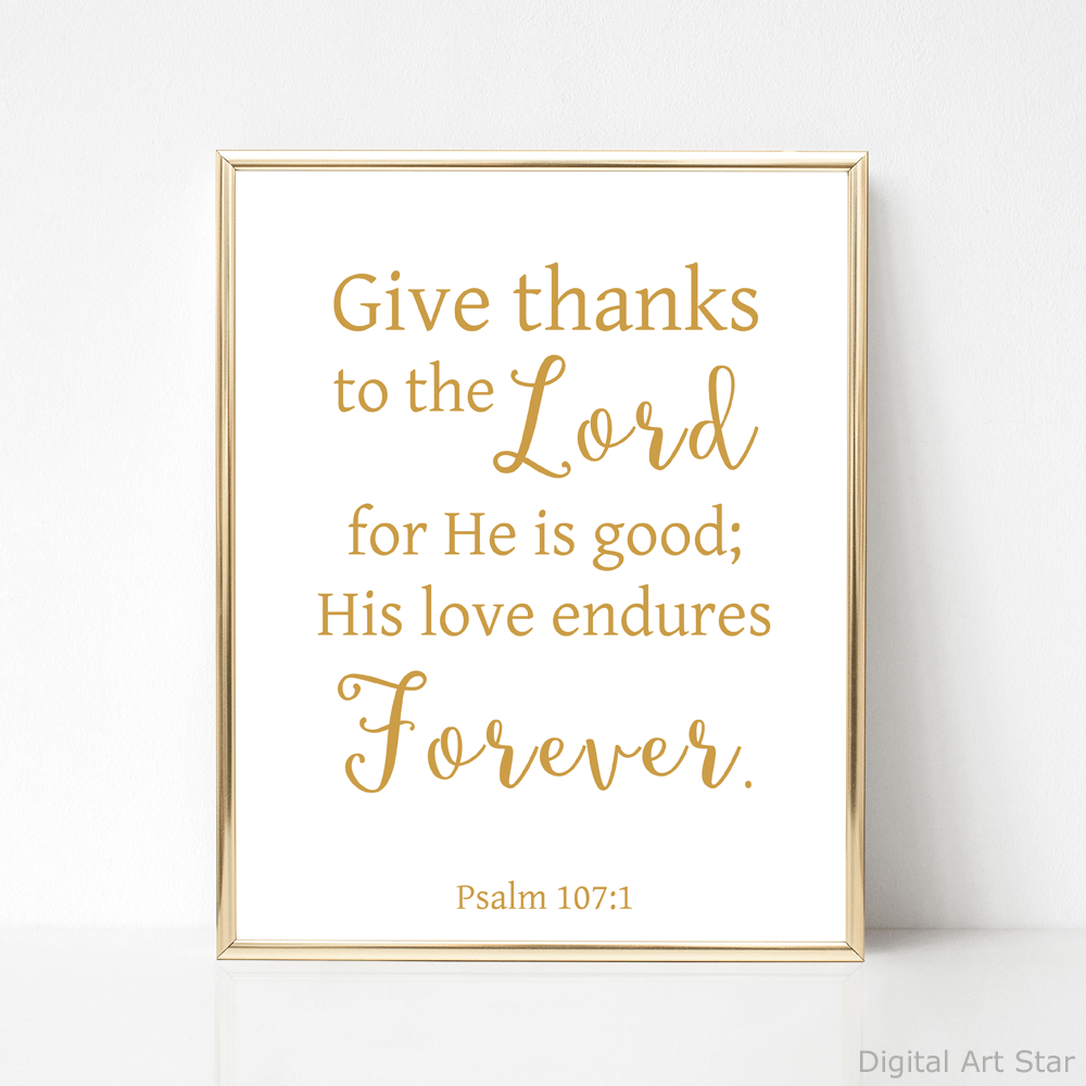 Printable Psalm 107 Scripture Wall Art Decor Gold and White