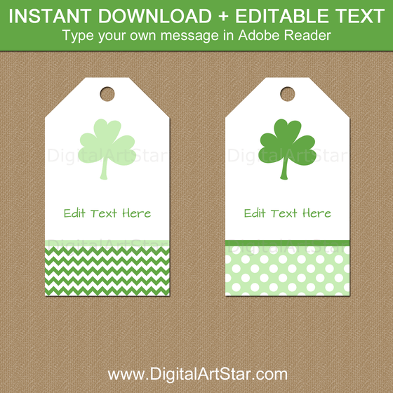 Printable Shamrock Gift Tags for St Patrick's Day